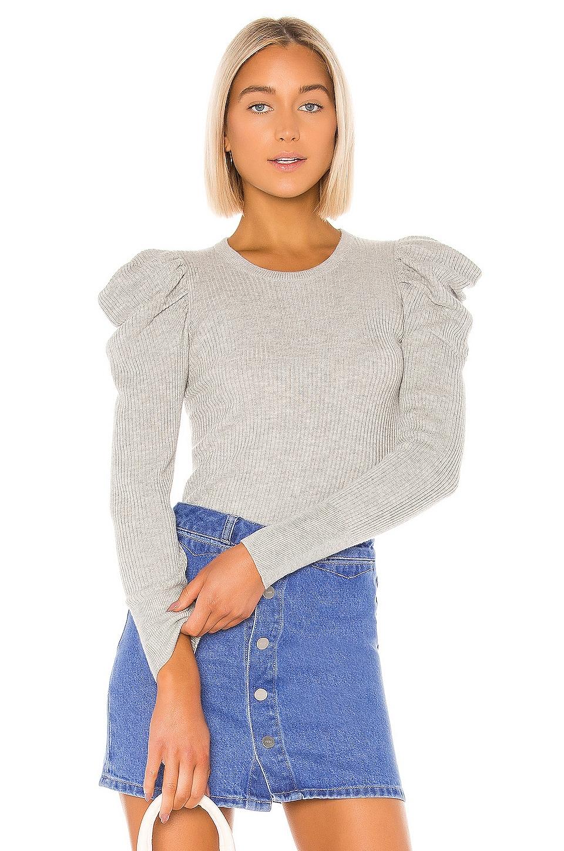 Splendid Allston Puff Sleeve Pullover in Light Heather Grey