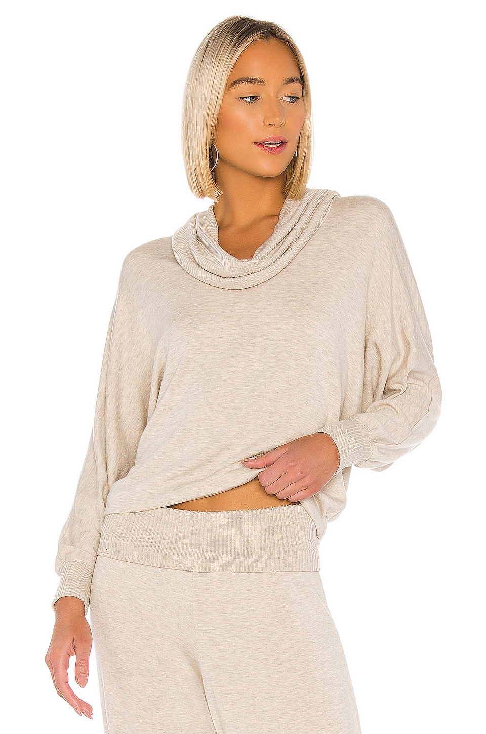 Splendid Super Soft Rib Sweater in Heather Oatmeal