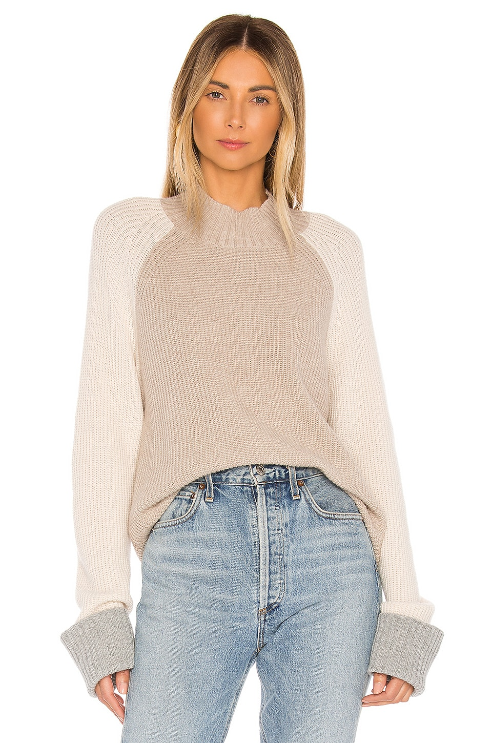 Splendid Alta Color Block Cashmere Blend Sweater in Heather Toast, Natural & Light Heather Grey