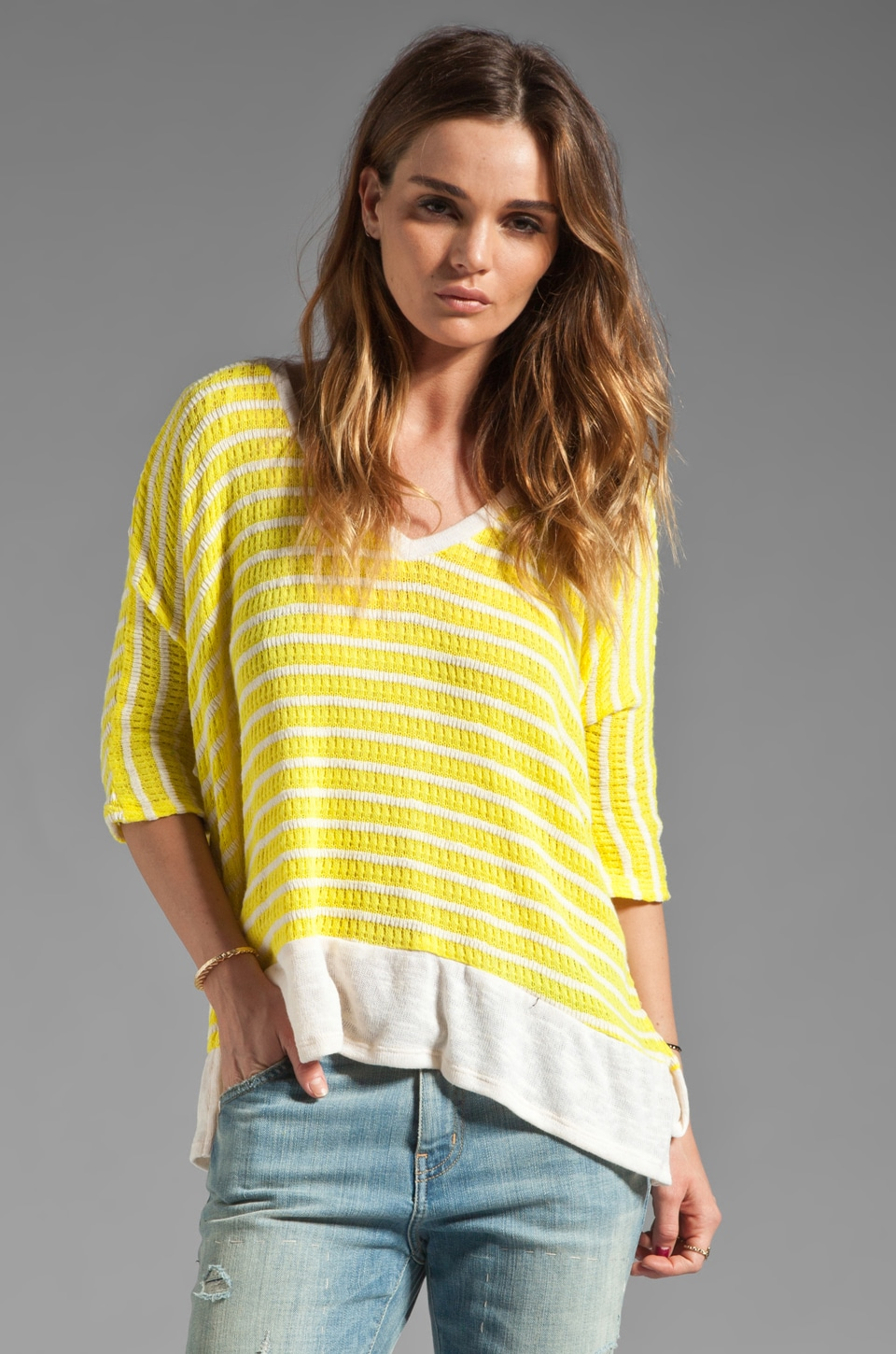 Splendid Panama Stripe V Neck Pullover in Citrine