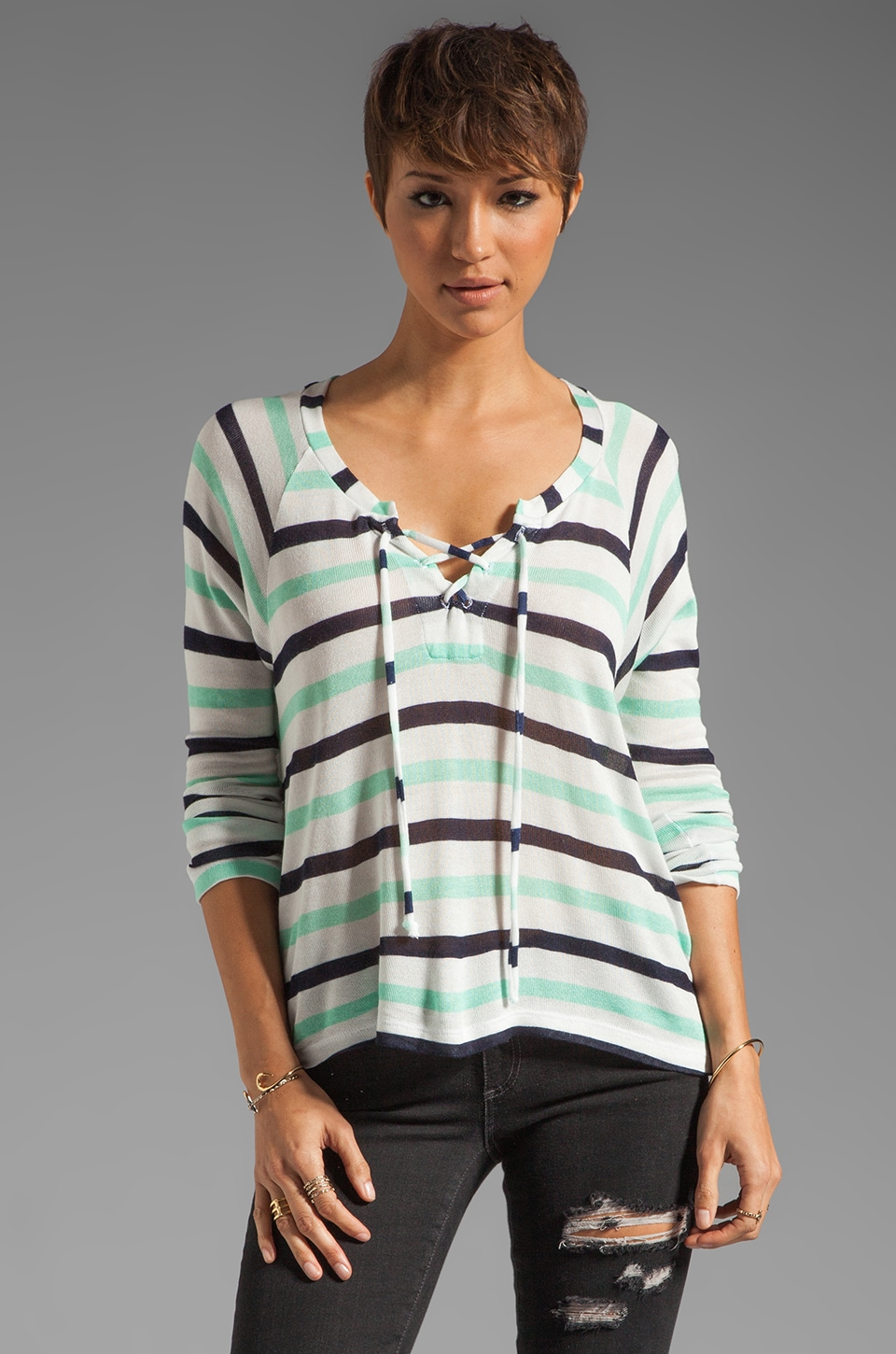 Splendid Clearwater Stripe Lace Up Sweater in White