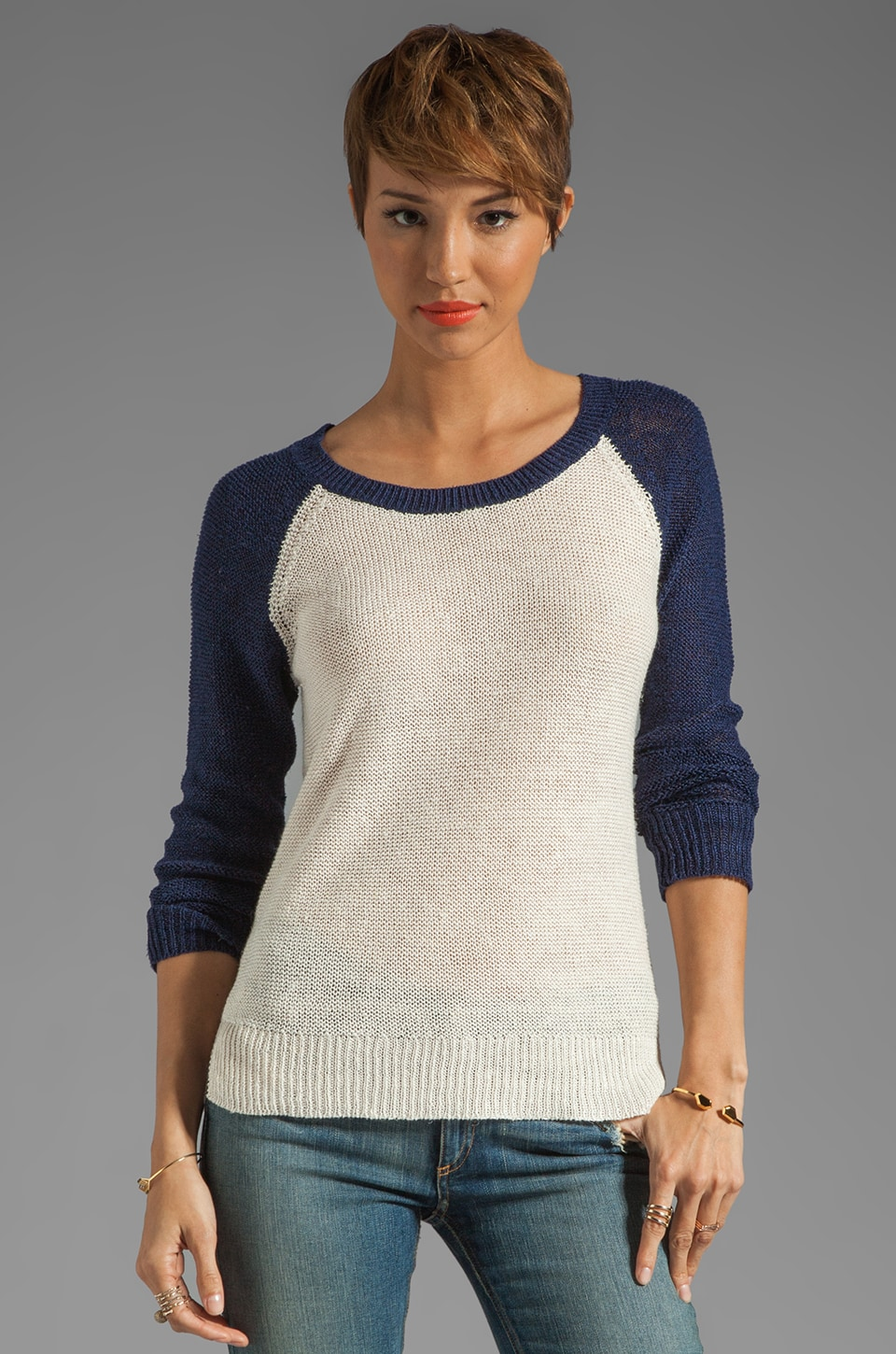 Splendid Coastal Linen Sweater in Navy