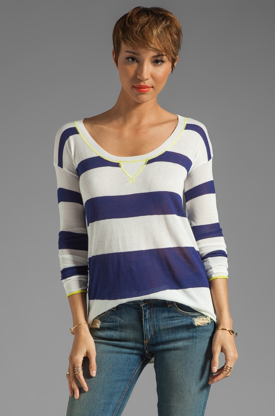 Splendid Yacht Stripe Sweater in Navy