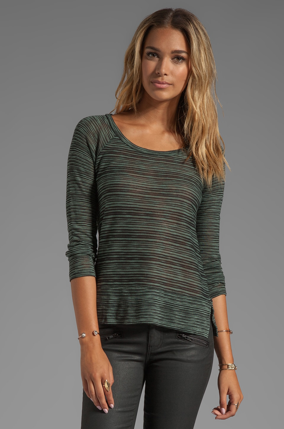 Splendid West Village Loose Knit Pullover in Camo/Black