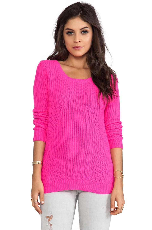 Splendid Nolita Rib Pullover Sweater in Neon Pink