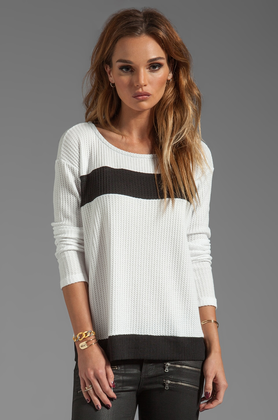 Splendid Waffle Loose Knit in Sand Dollar/ Black