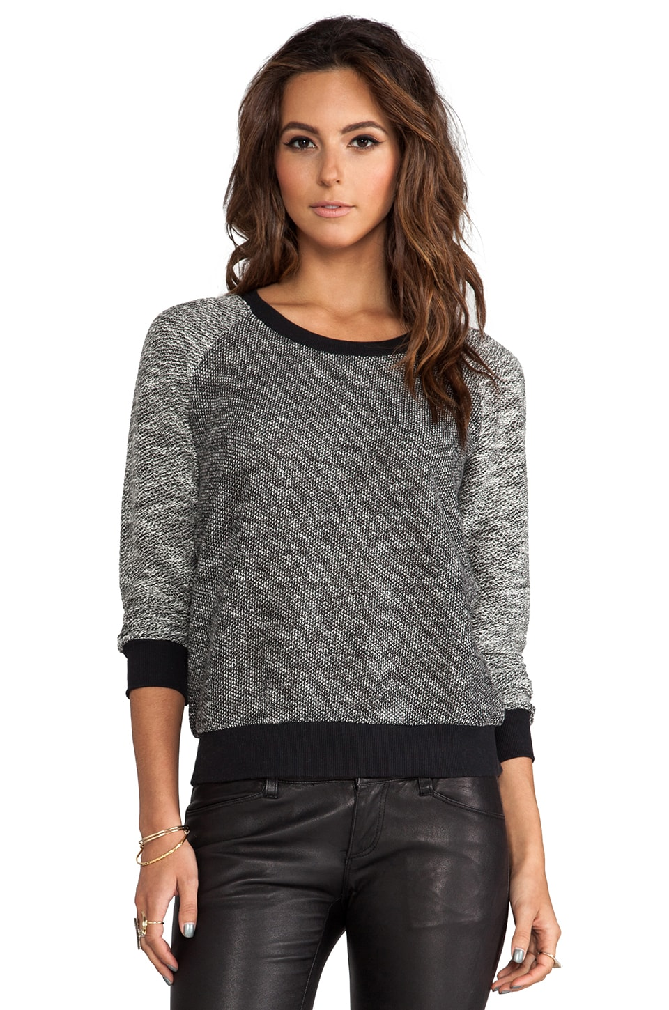 Splendid Boucle Active Pullover Sweater in Black/White