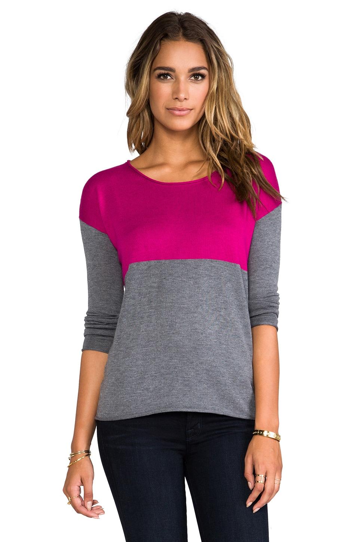 Splendid Cashmere Blend Sweater in Heather Grey/Magenta