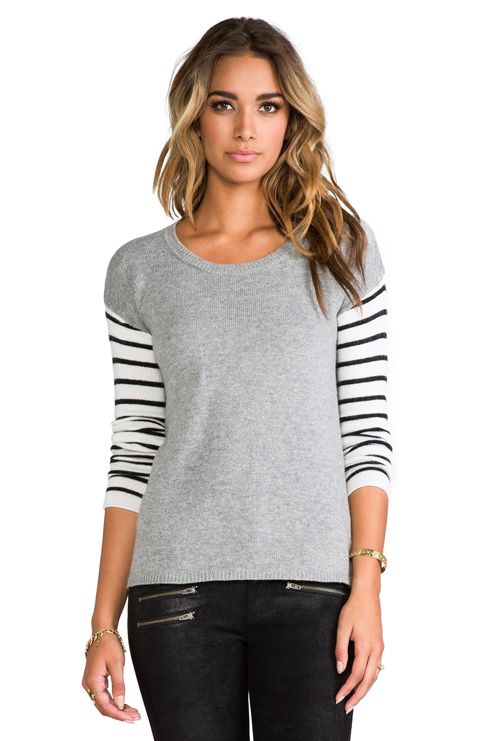 Splendid Striped Block Sweater in Grey