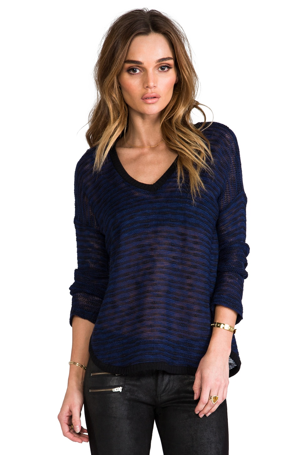 Splendid Fireside V-Neck Sweater in Navy