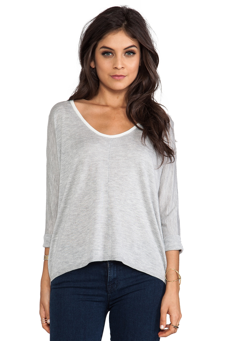 Splendid Cashmere Blend Sweater in Heather Grey