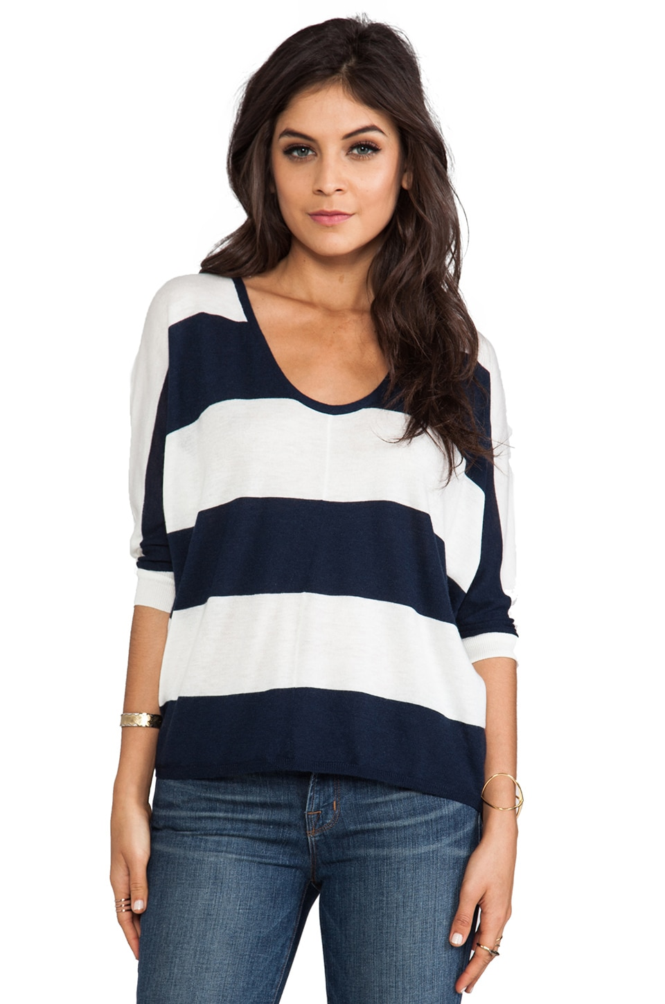 Splendid Cashmere Blend Sweater in Navy & White