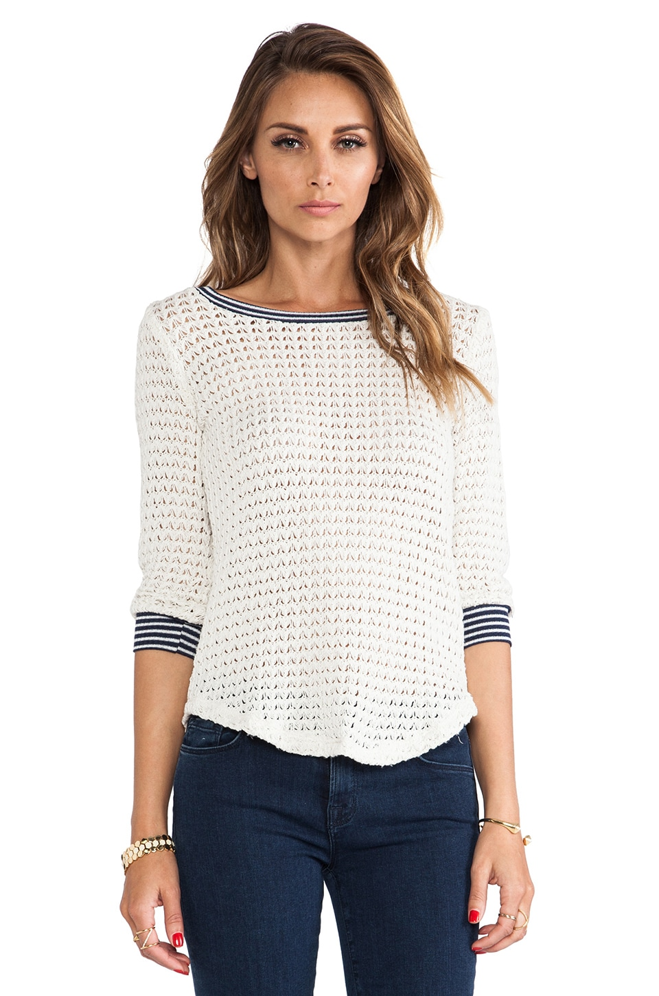 Splendid Sweater Mesh Loose Knit in Sand Dollar