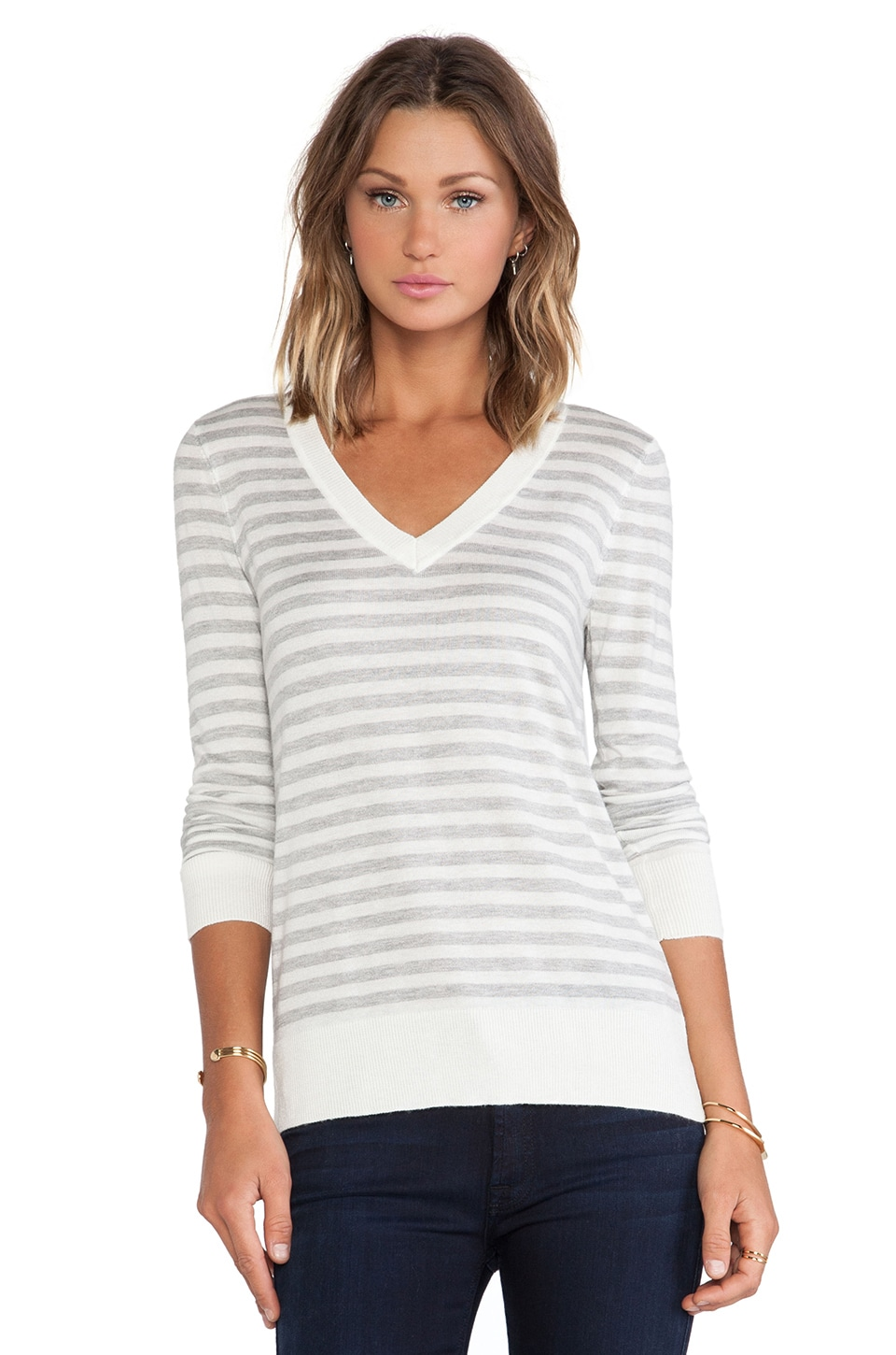 Splendid Cashmere Blend V Neck Striped Sweater in Heather Grey