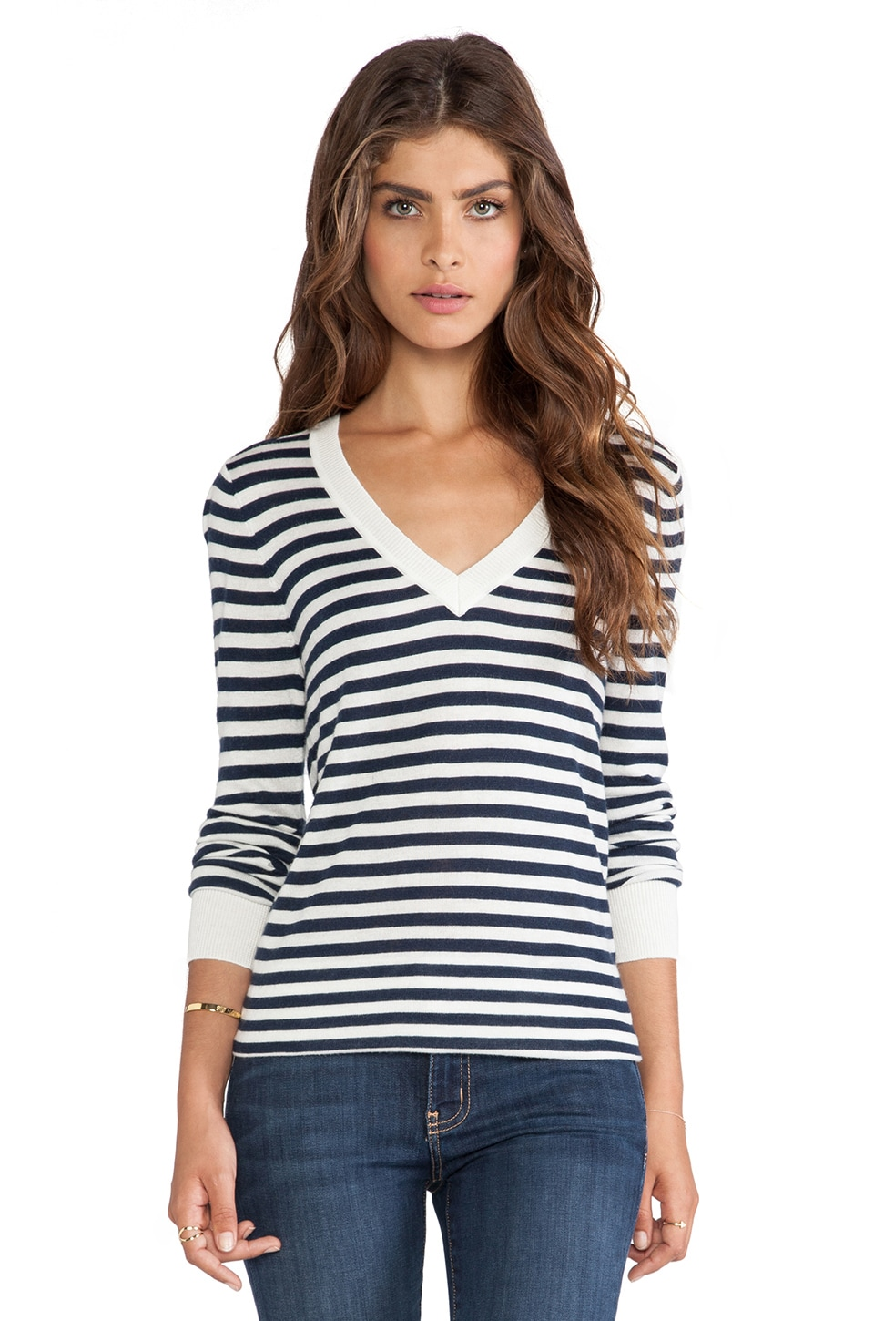 Splendid Cashmere Blend V Neck Striped Sweater in Navy