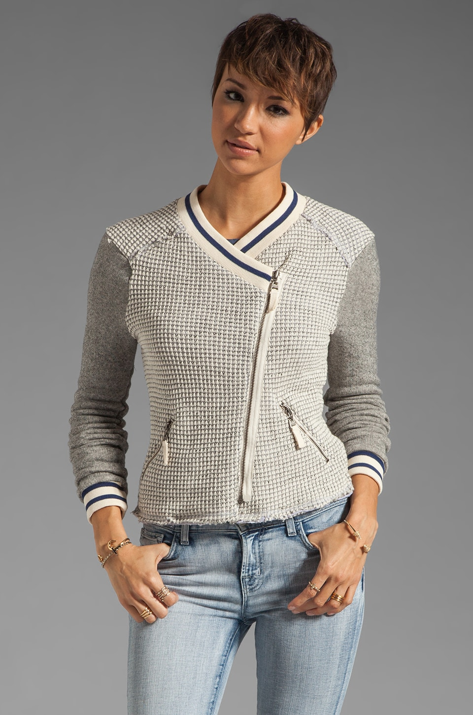 Splendid Rydell Boucle Jacket in Natural/Heather Grey