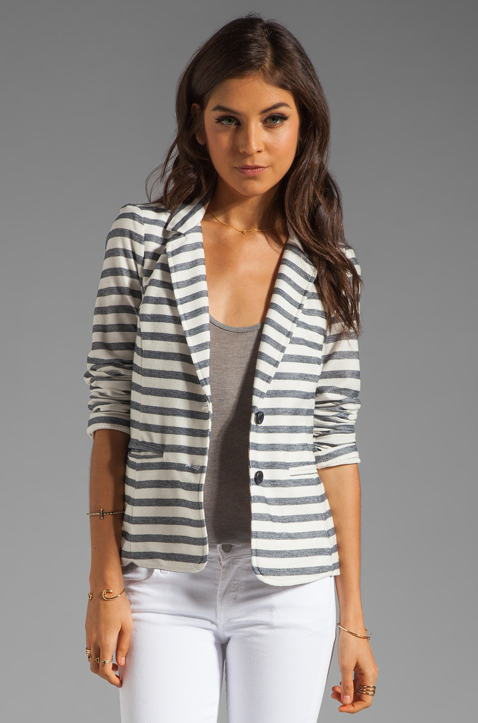Splendid Nantucket Stripe Blazer in Pearl/Navy