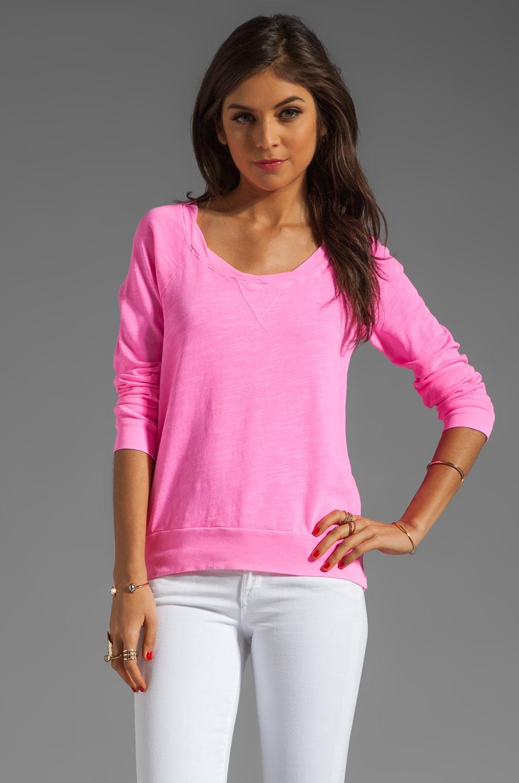 Splendid Slub Active Pullover in Neon Pink