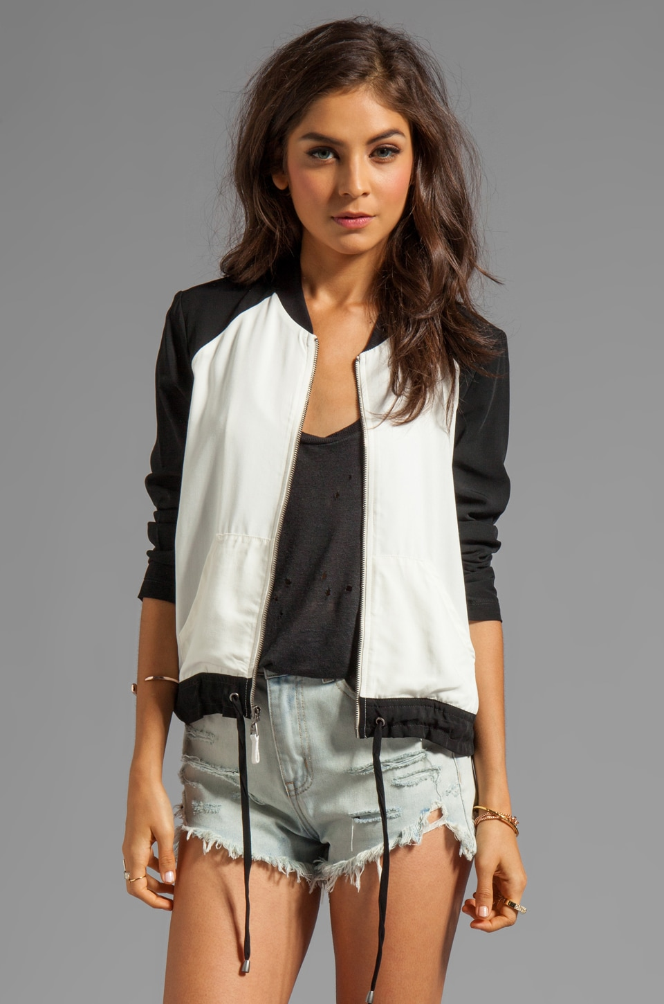 Splendid Athens Colorblocked Jacket in Sand Dollar/Black