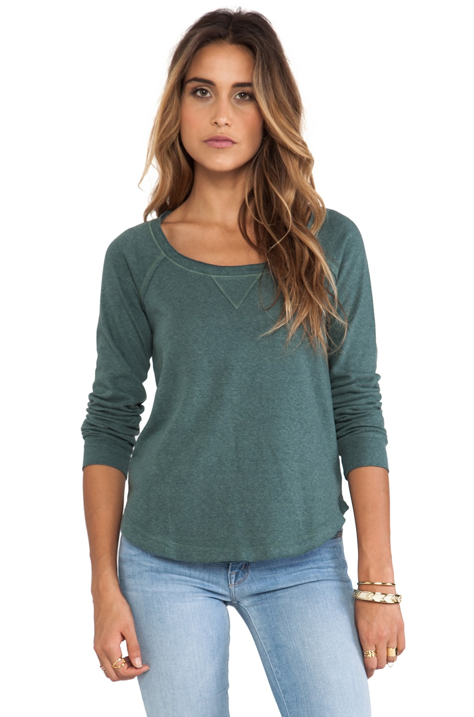 Splendid Pullover Sweatshirt in Camo Green