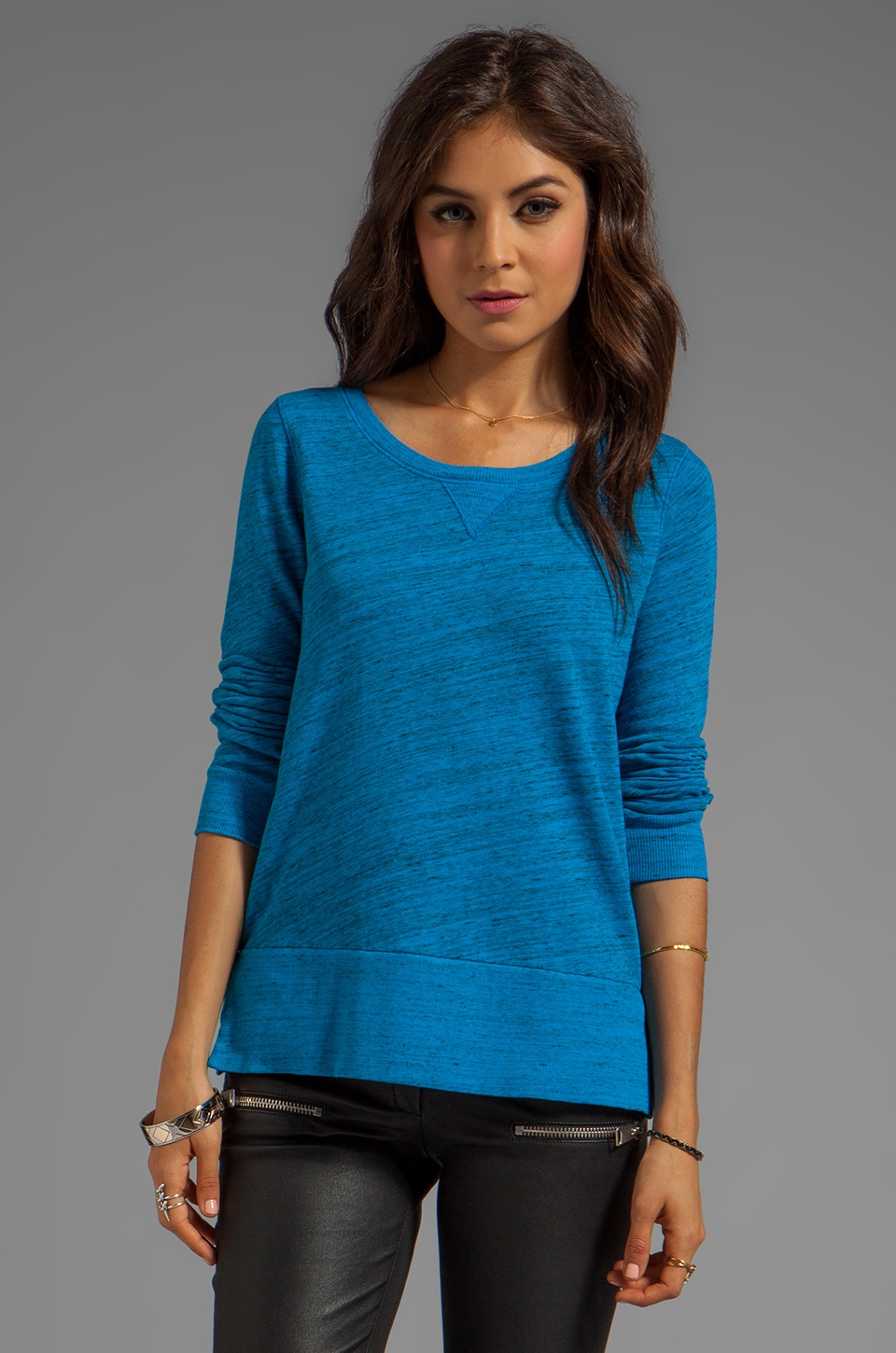 Splendid Space-Dyed Heather Active Pullover in Bright Azure