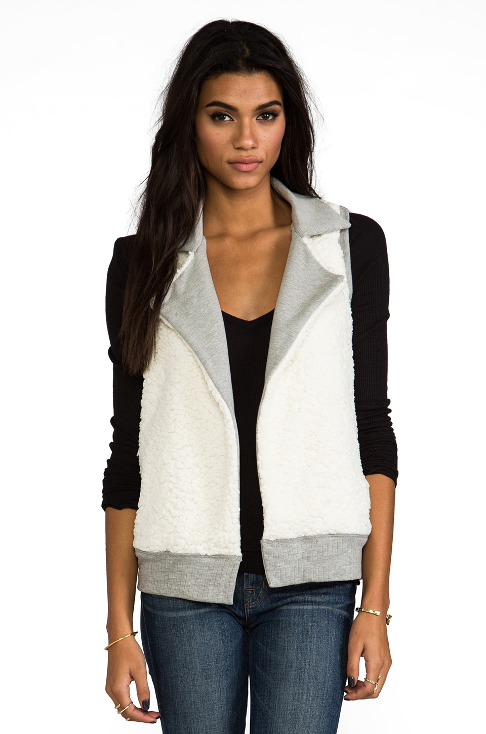 Splendid Faux Sherpa Vest in Heather Grey