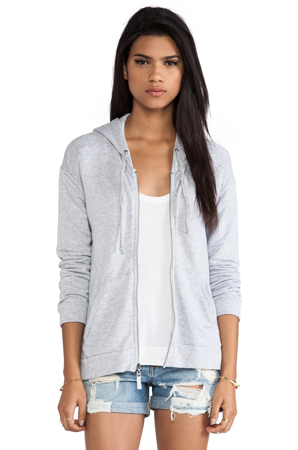 Splendid Soft Melange French Terry Sweatshirt in Heather Grey