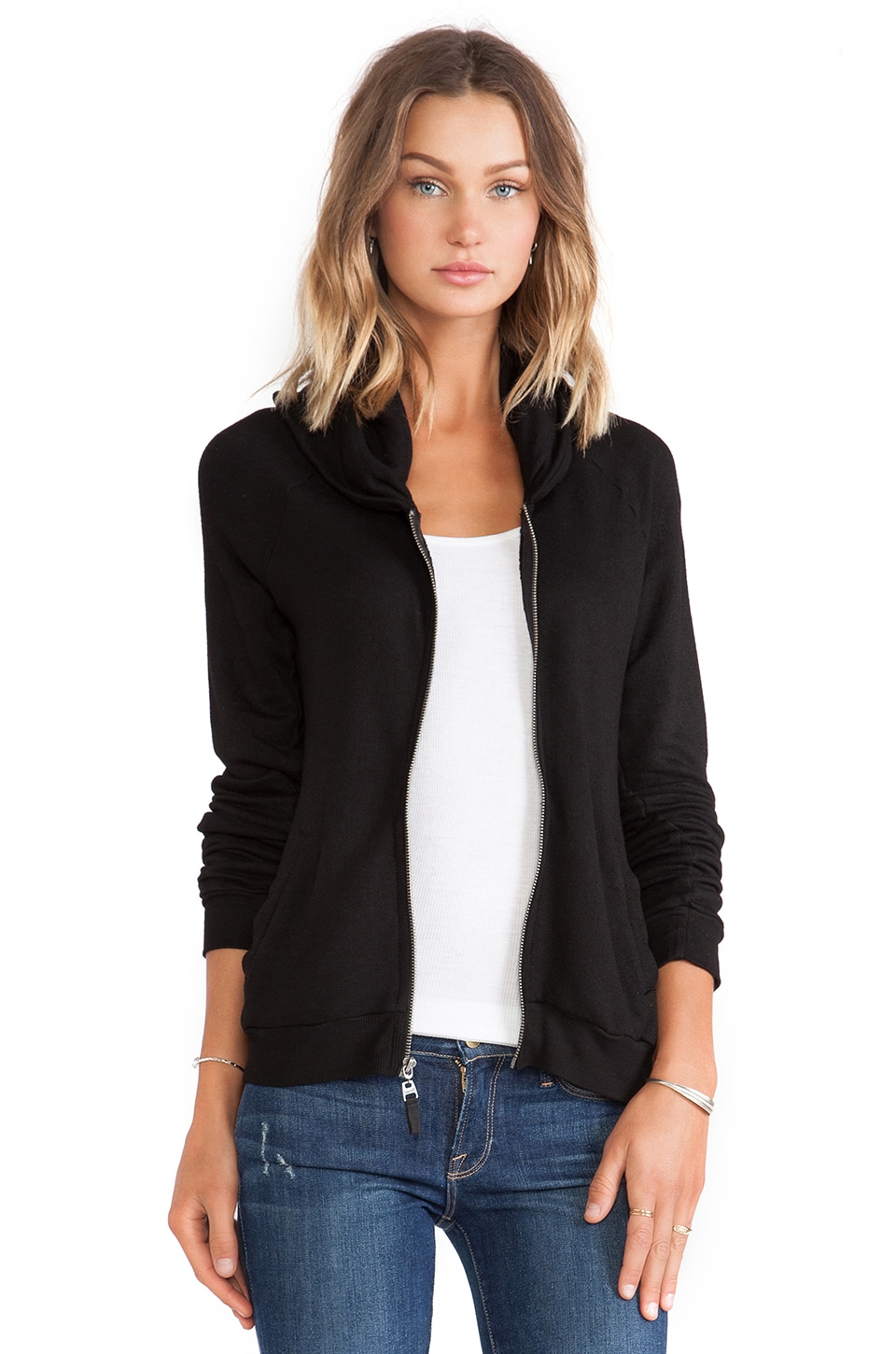 Splendid Zip Hoodie in Black