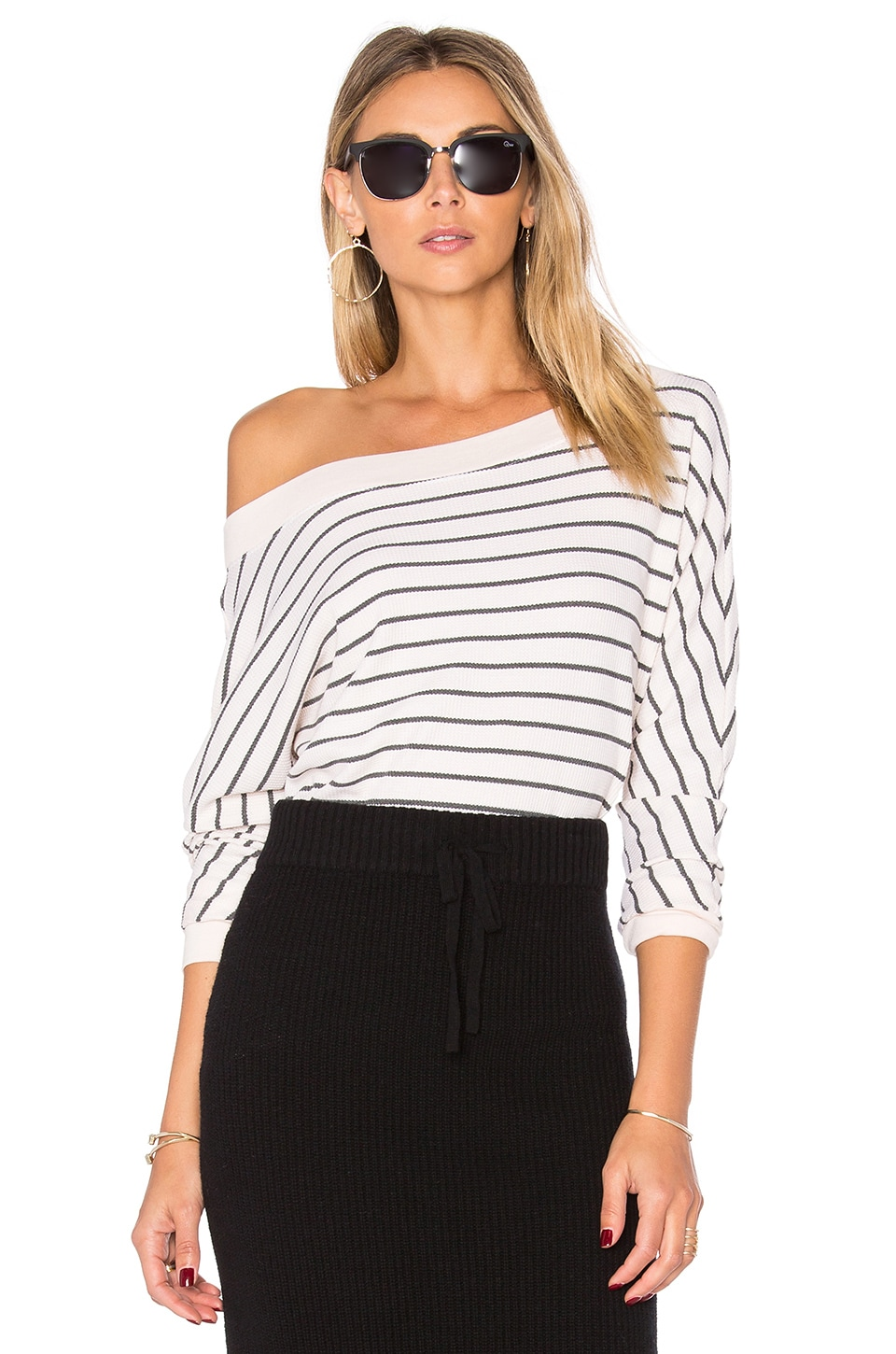 Splendid Alpine Stripe Sweatshirt in Ecru