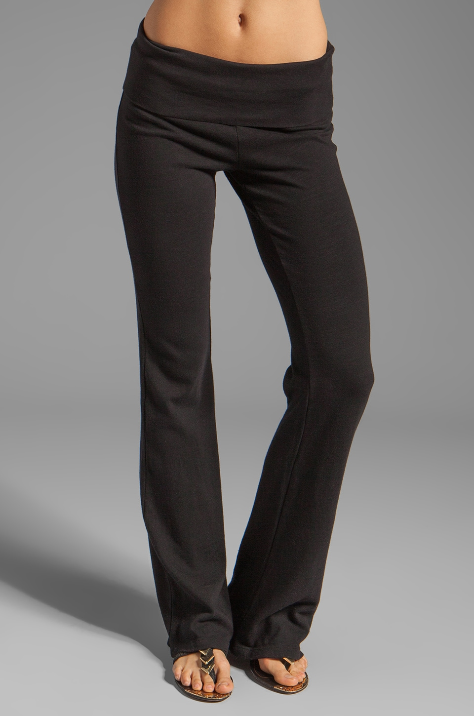 Splendid Slub Active Wide Leg Sweatpants in Black