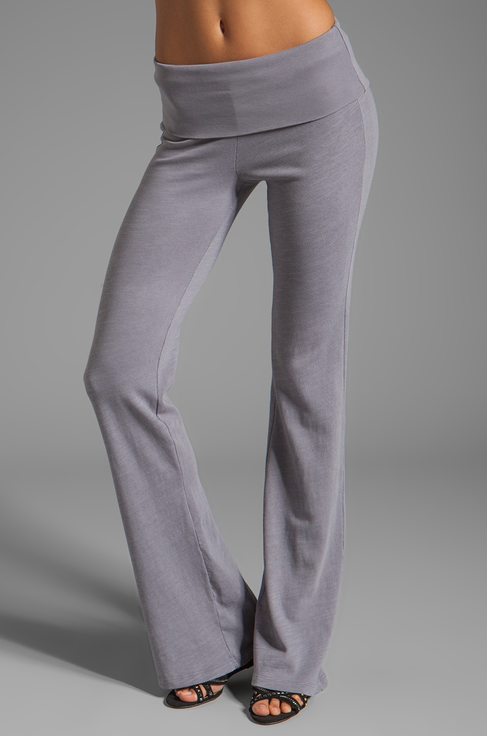 Splendid Slub Active Wide Leg Sweatpants in Storm