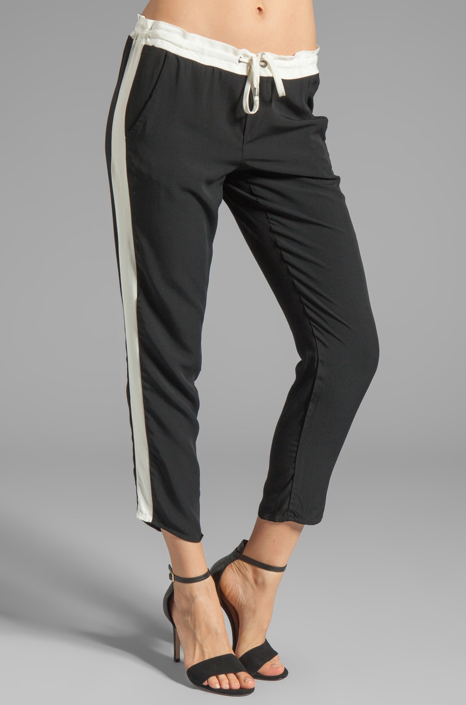 Splendid Athens Colorblocked Pant in Black/Sand Dollar