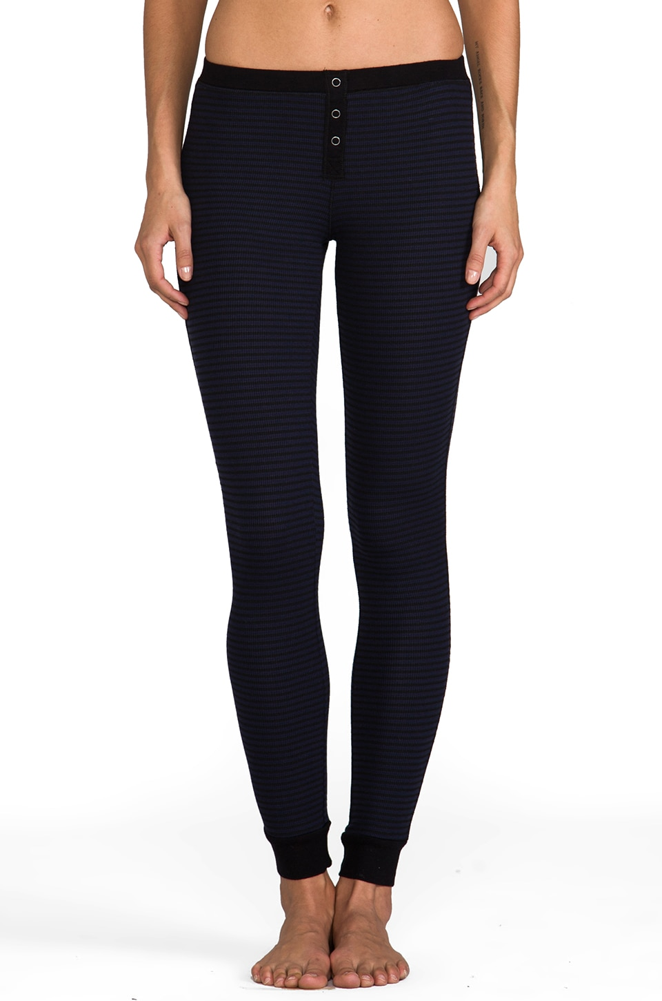 Splendid Mini Black Stripe Thermal Leggings in Navy