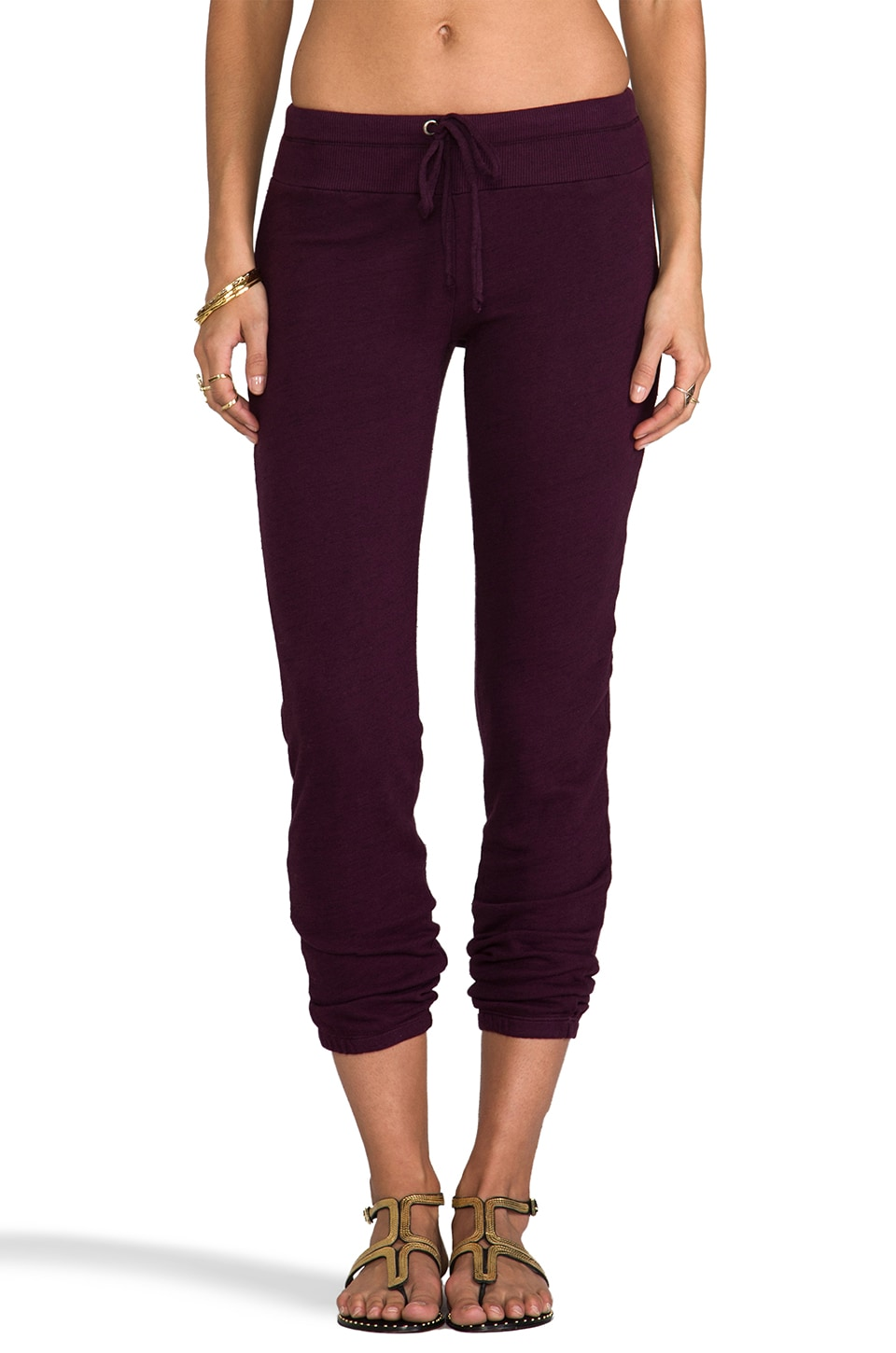Splendid Space-Dyed Heather Active Sweatpant in Eggplant