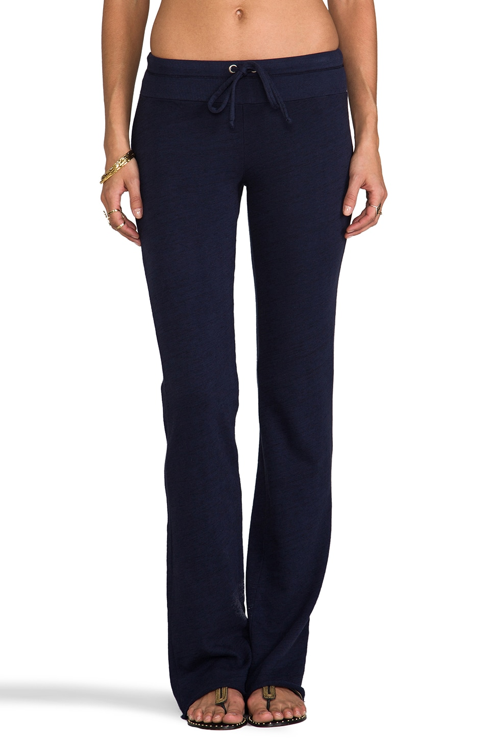 Splendid Space-Dyed Heather Active Flare Sweatpant in Navy