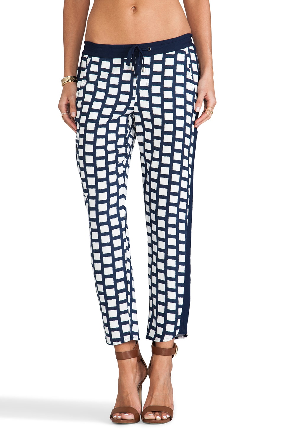 Splendid Window Pane Pant in White & Navy
