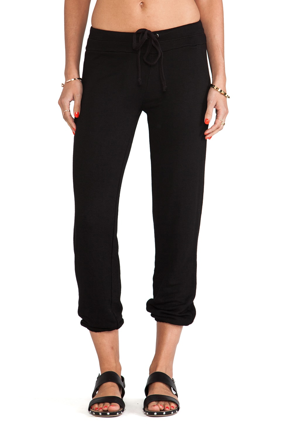 Splendid Soft Melange French Terry Pants in Black