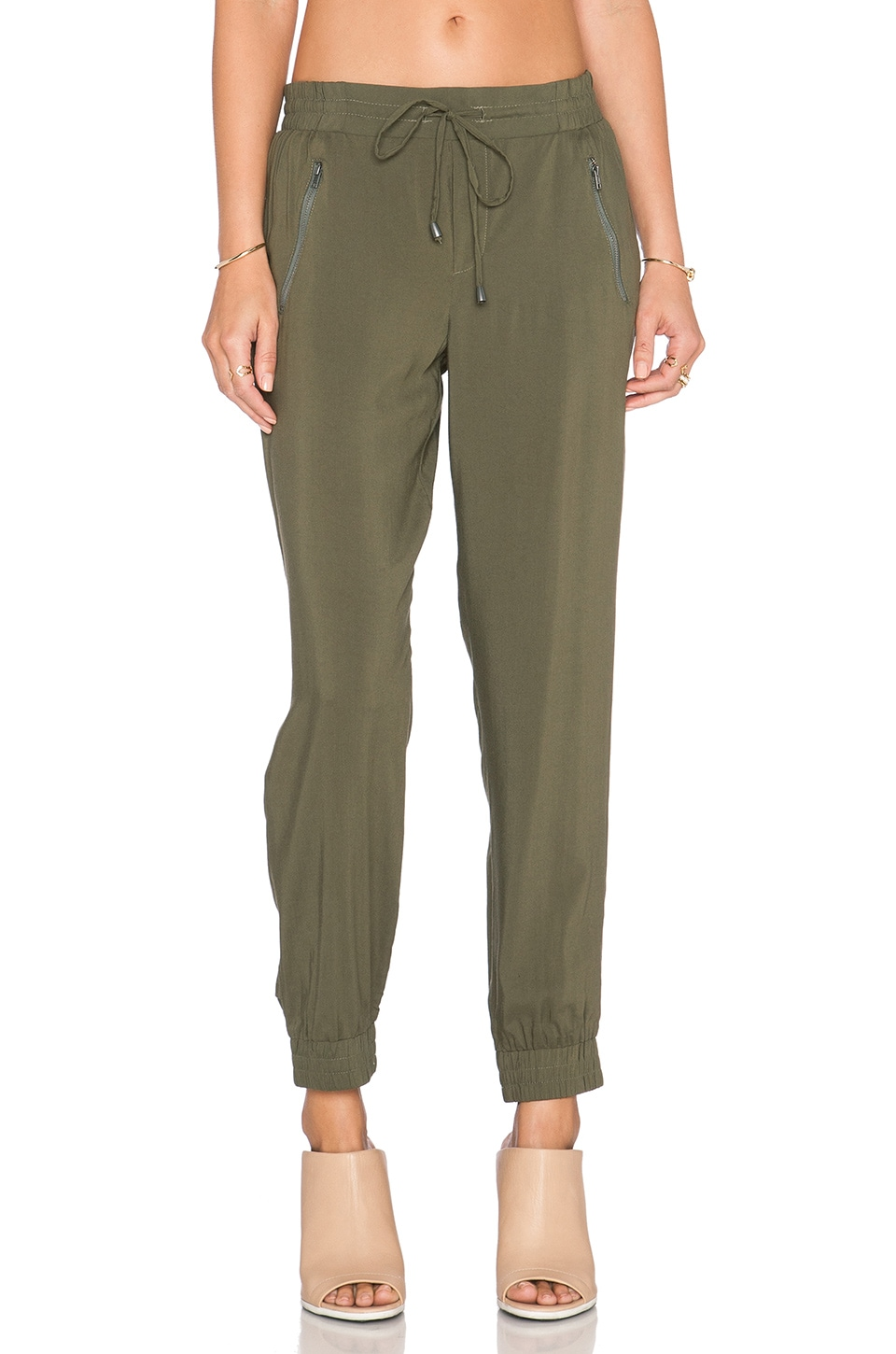 Splendid Rayon Voile Jogger Pant in Dusty Olive