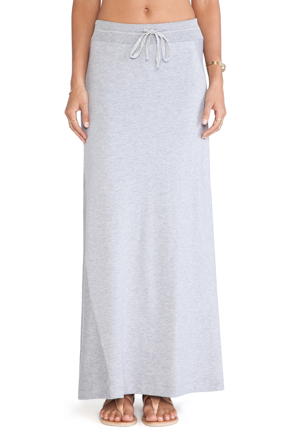 Splendid Slub French Terry Maxi Skirt in Heather Grey
