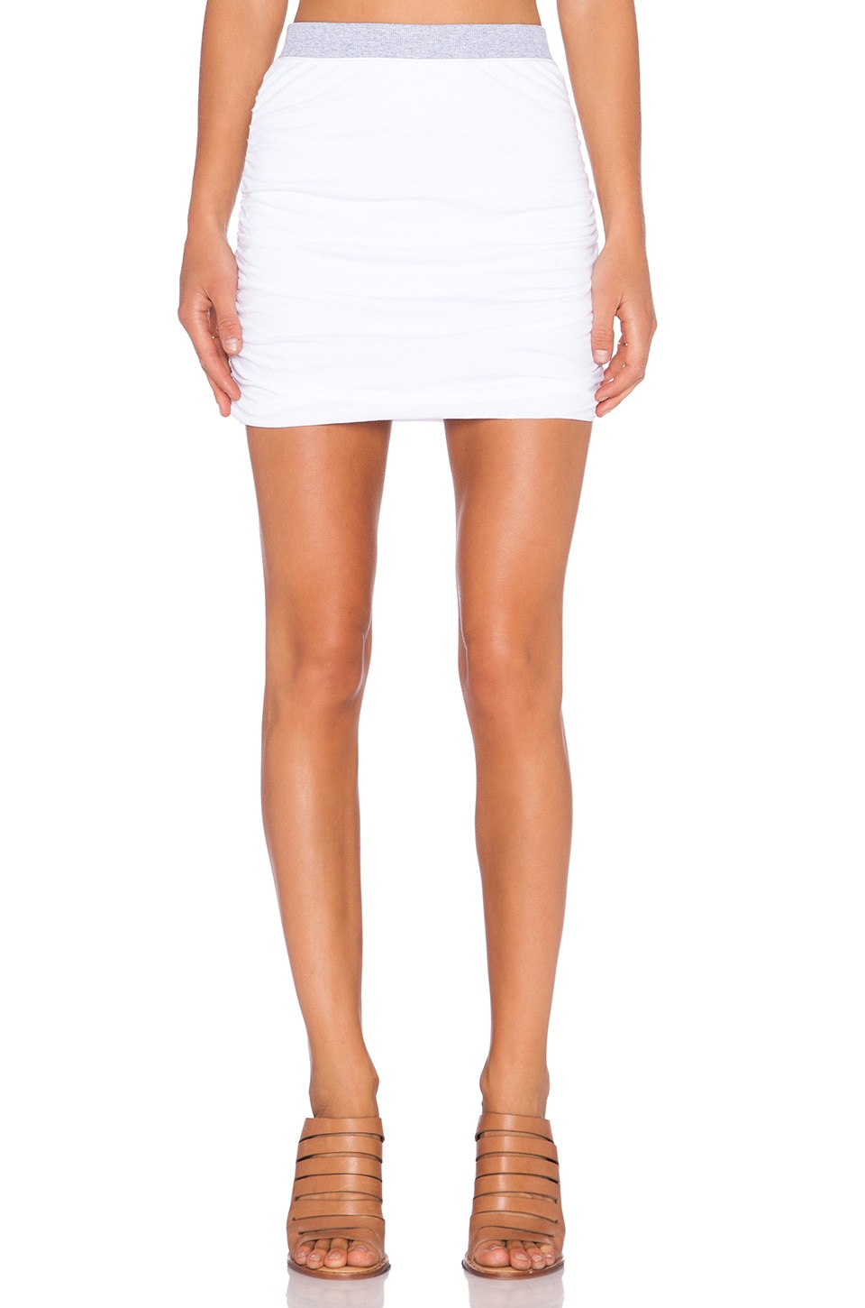 Splendid Rib Mix Mini Skirt in White