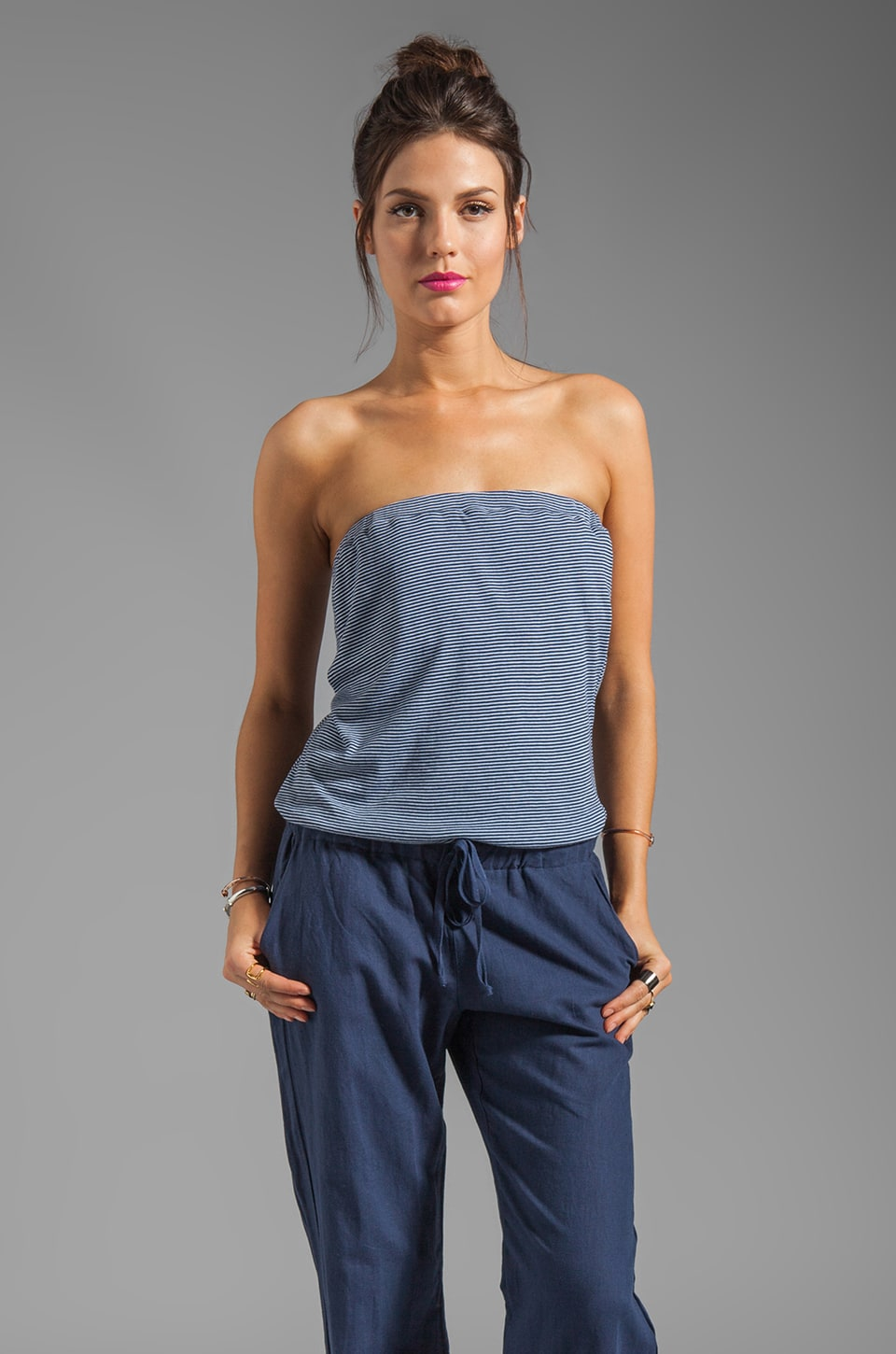 Splendid Breezy Linen Stripe Romper in Navy