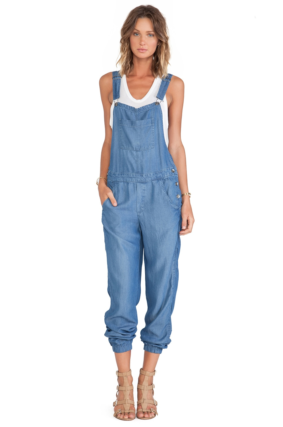 Splendid Indigo Dye Overalls in Medium Wash