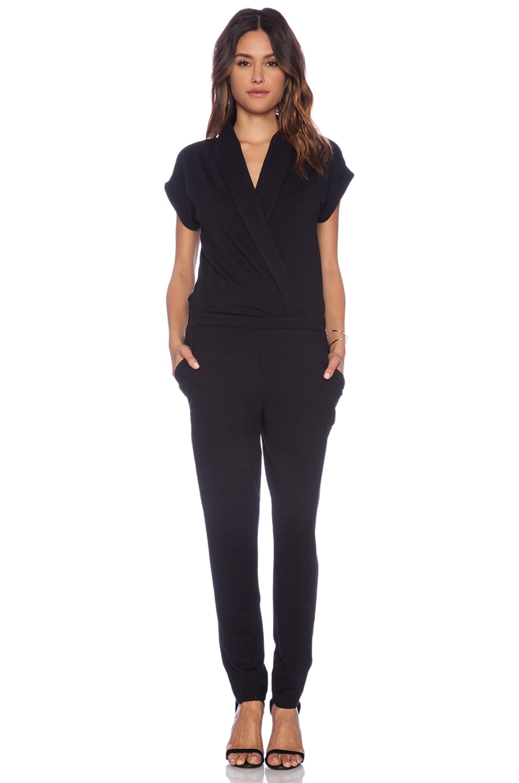 Splendid Slub French Terry Jumpsuit in Black