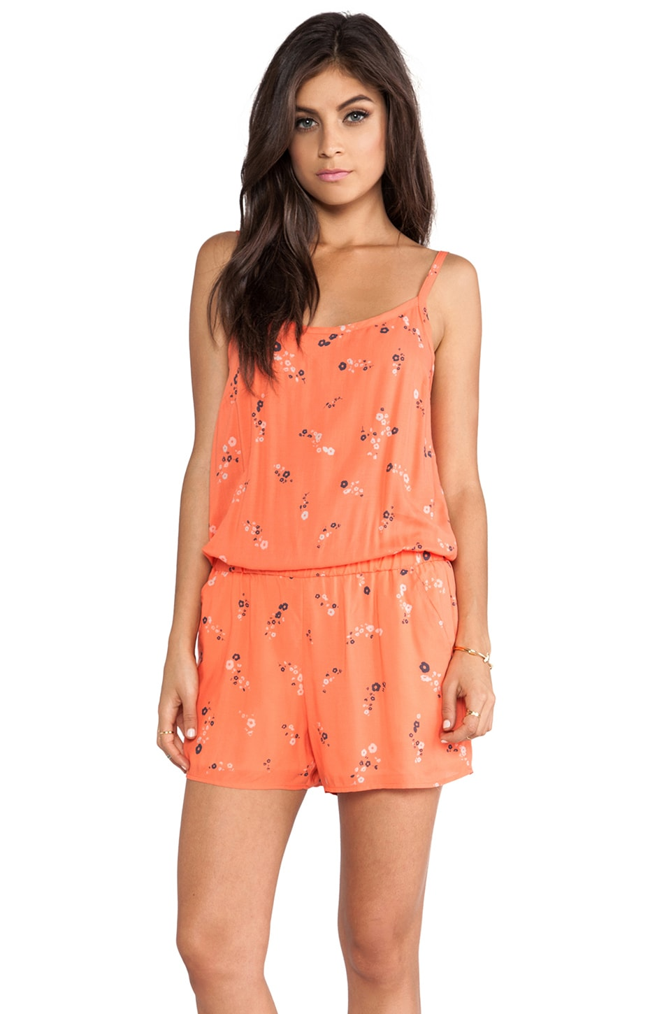 Splendid California Poppies Romper in Coral