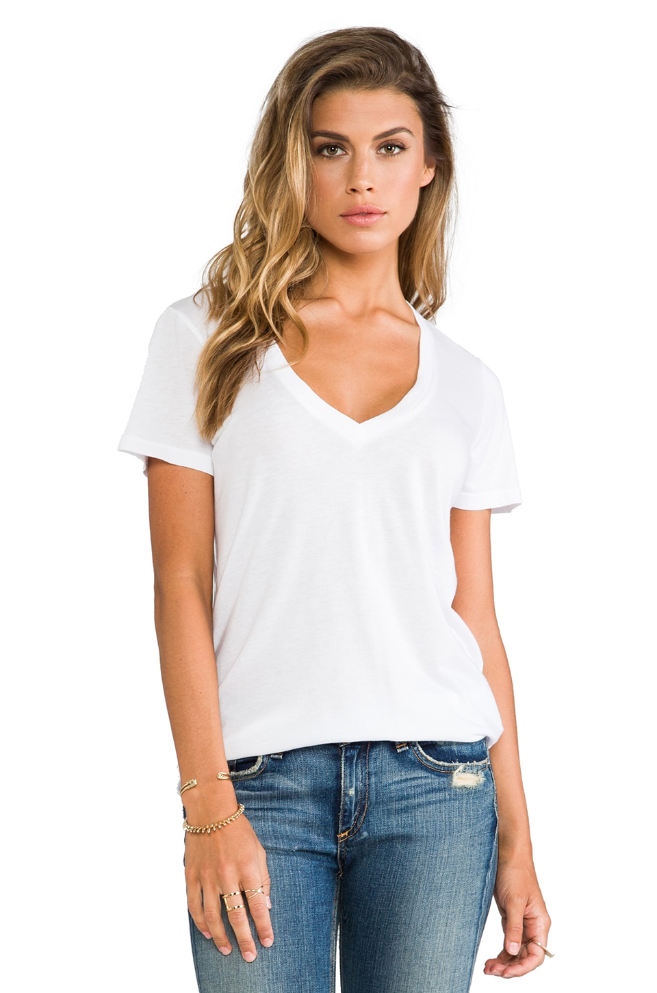 Splendid Very Light Jersey V Neck in White