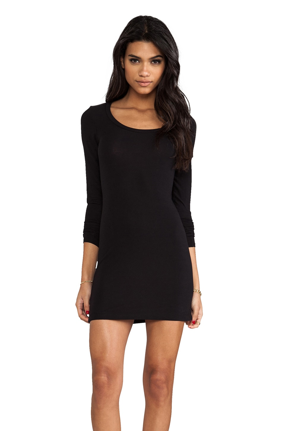 Splendid Layers Long Sleeve Tee in Black
