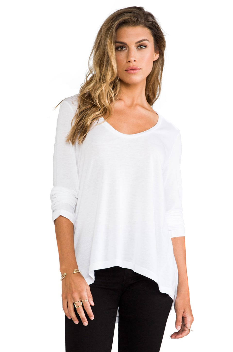 Splendid Very Light Jersey Long Sleeve Tee in White