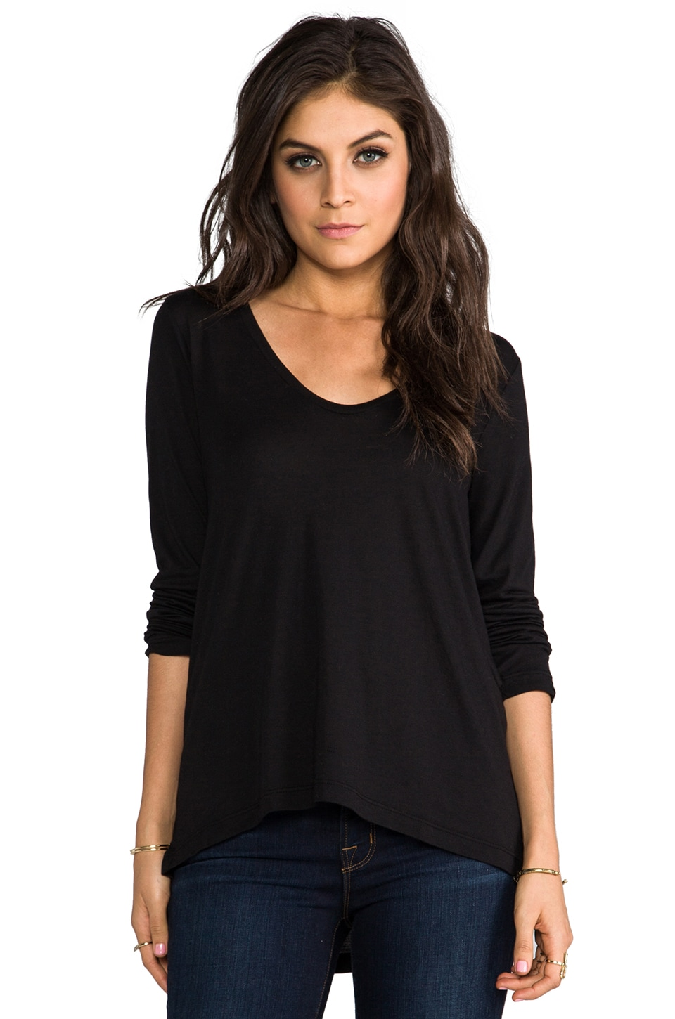 Splendid Very Light Jersey Long Sleeve Tee in Black