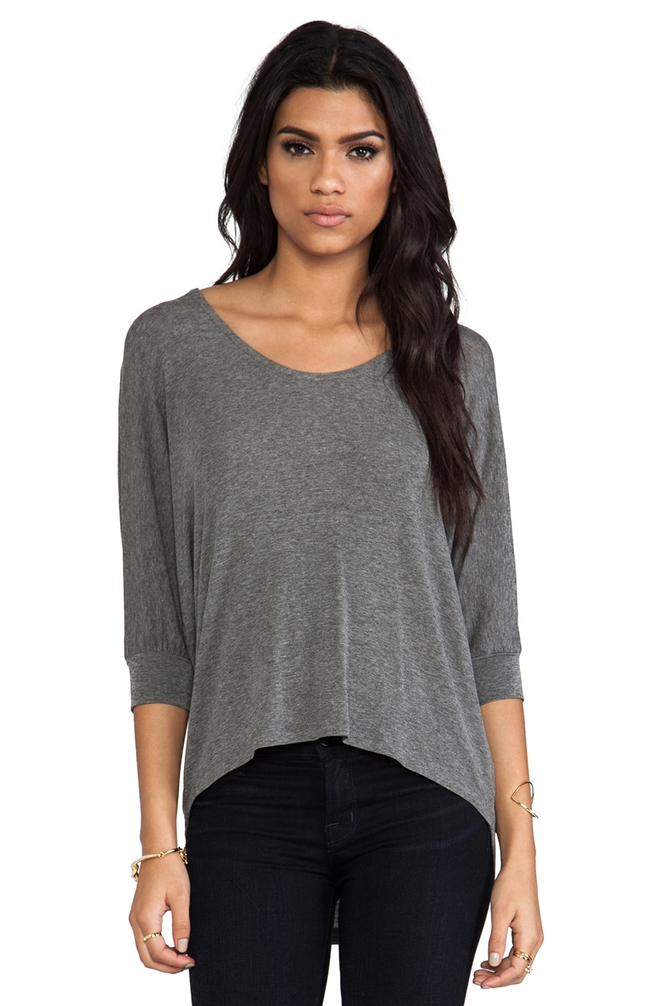 Splendid Drapey Lux Top in Steel