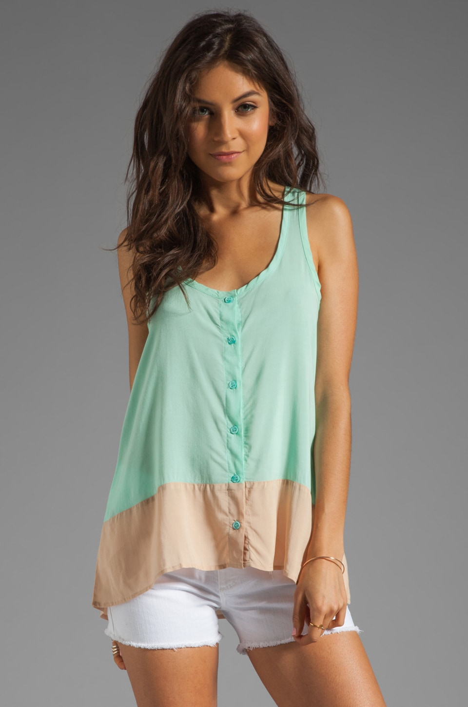 Splendid Colorblock Tank in Julep/Almond